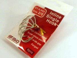 In-Line Single Hook 2/0, 6pcs/Blister - TiN